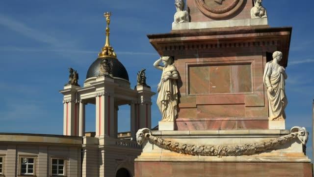 vídeos de stock e filmes b-roll de potsdam city palace and obelisk, potsdam, brandenburg, germany, europe - figura feminina