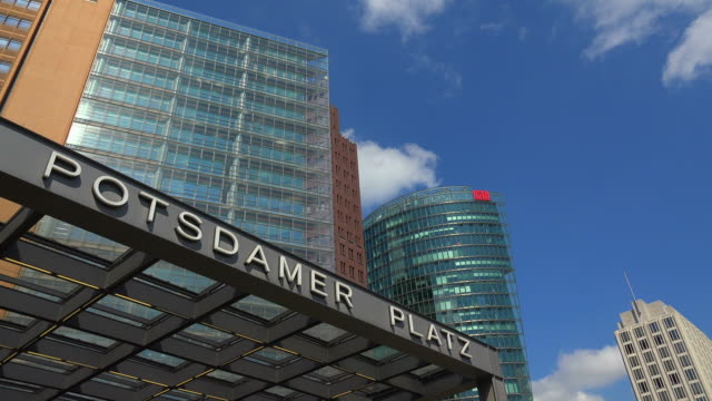 potsdamer platz, berlin-mitte, germany - entrance sign stock videos & royalty-free footage