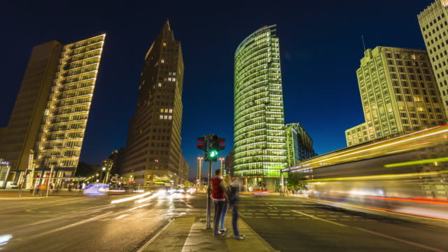potsdamer platz in berlin, time lapse - traffic time lapse stock videos & royalty-free footage