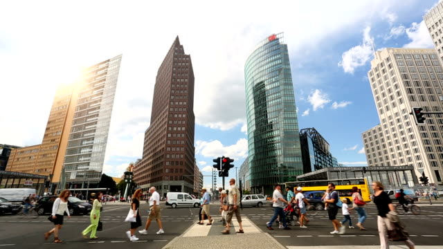 potsdamer platz in berlin, time lapse - berlin stock videos & royalty-free footage