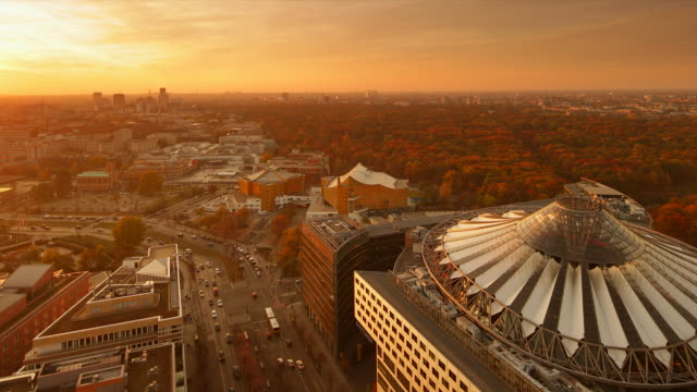 Potsdamer Platz Sony Center Autumn Sunset Skyline with Tiergarten an Traffic