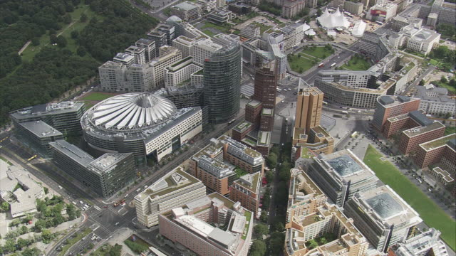 AERIAL Potsdamer Platz with Sony Center, Berlin, Germany