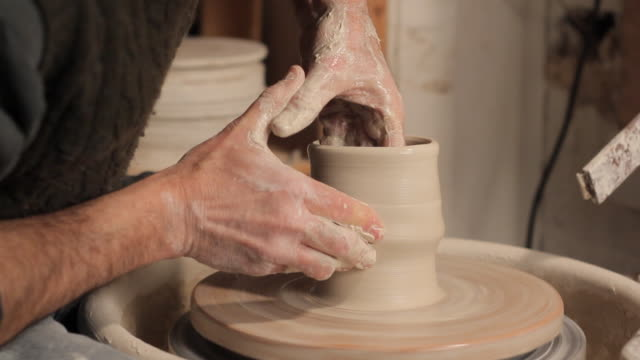 cu potter making pot / frenchtown, new jersey, usa - potter stock videos & royalty-free footage