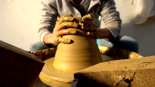 pottery and hand - potter's wheel stock videos & royalty-free footage