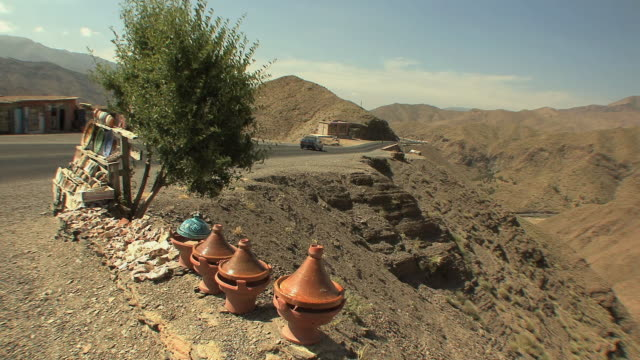 WS Pottery for sale on roadside, Tizi n Tichka mountain pass in Atlas mountains, Morocco