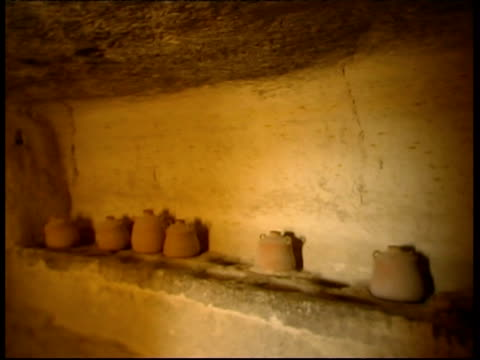 pottery inside ancient nabataean city ovdat, israel - stone material stock videos & royalty-free footage