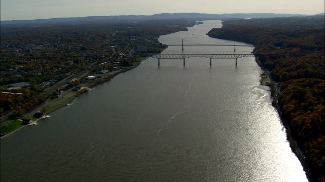 poughkeepsie - aerial view - new york,  dutchess county,  united states - hudson river stock videos & royalty-free footage
