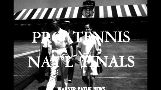 [Poughkeepsie NY 6/1949] Two skiffs row past boat with 'finish' sign // [6/26/1949] Title superimposed on two men in white clothes 'Pro tennis nat'l...