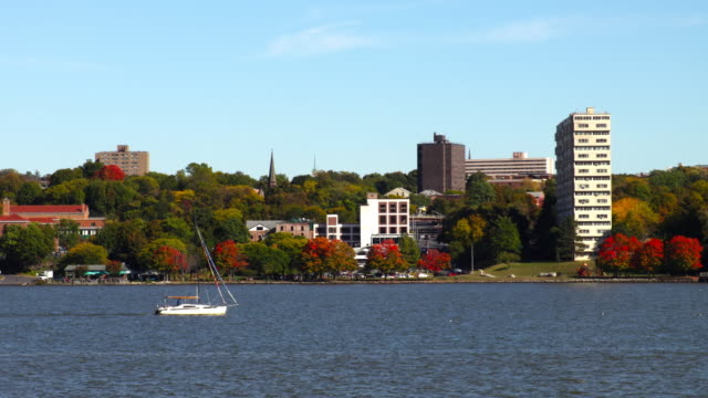 poughkeepsie skyline along the hudson river - hudson river stock videos & royalty-free footage