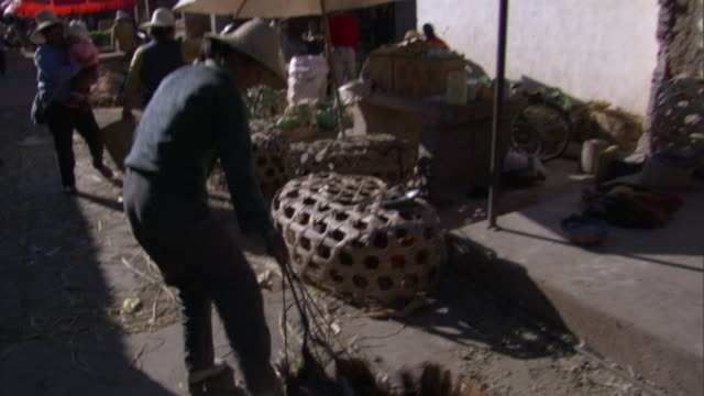 stockvideo's en b-roll-footage met ws poultry seller dragging chickens tied together across ground in weishan market, yunnan, china - markt