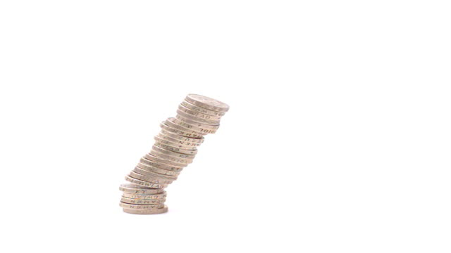 pound coin stack falling slow motion - pound sterling symbol stock videos & royalty-free footage