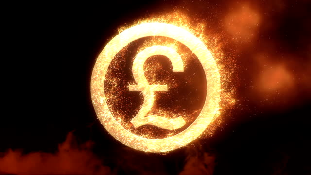 pound sing with fire effect - alpha channel - pound sterling symbol stock videos & royalty-free footage
