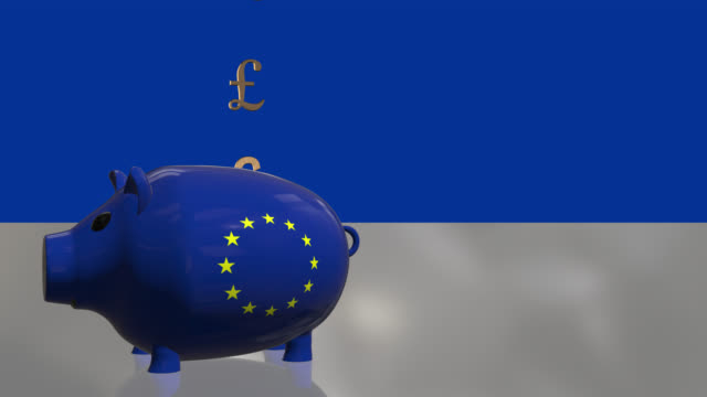 pound symbols dropping into a piggy bank with the eu flag - pound sterling symbol stock videos & royalty-free footage