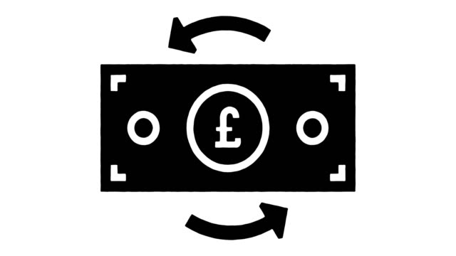 pound worth line drawing & ink splatter animation with alpha - pound sterling symbol stock videos & royalty-free footage