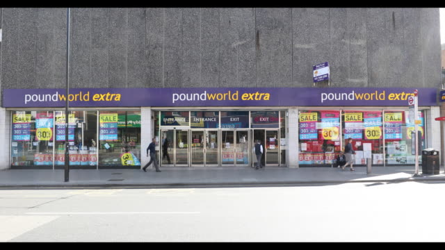 poundworld discount store in london uk on thursday june 21 2018 - consumerism stock videos & royalty-free footage