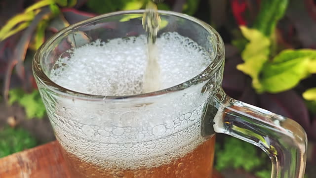 pouring beer into glass at slow motion. - pilsner stock videos & royalty-free footage