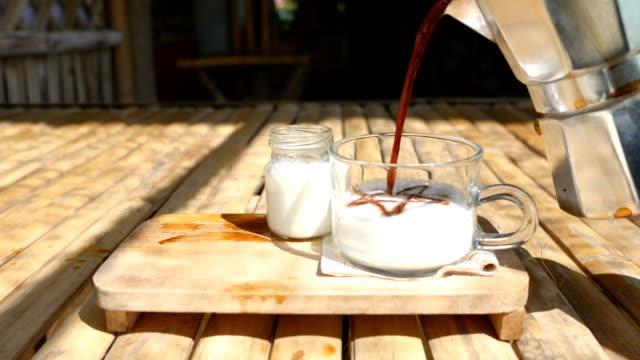 Coulée de café dans le lait, Café Latte chaud