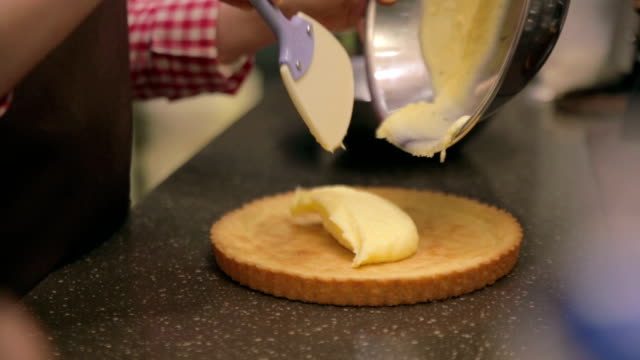 pouring cream on pie - freshness stock videos & royalty-free footage