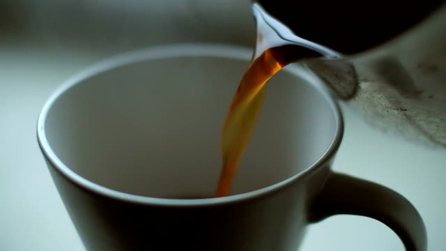 Pouring Hot Coffee In a Cup