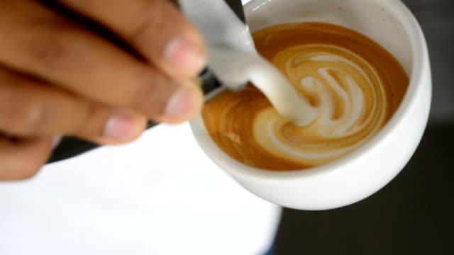 pouring latte art - latte stock videos and b-roll footage
