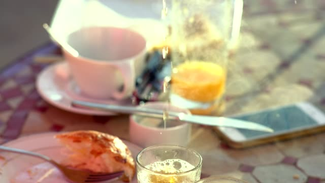 pouring moroccan traditional mint tea - teapot stock videos & royalty-free footage