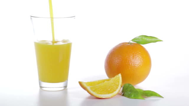 Pouring Orange Juice into a glass HD