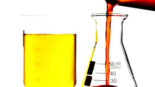 レッドの液体をビーカー注ぐ - ビーカー点の映像素材/bロール