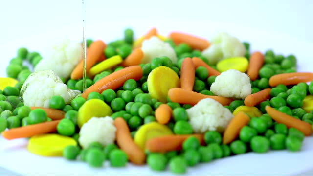 Pouring The Oil Over Vegetables (Super Slow Motion)