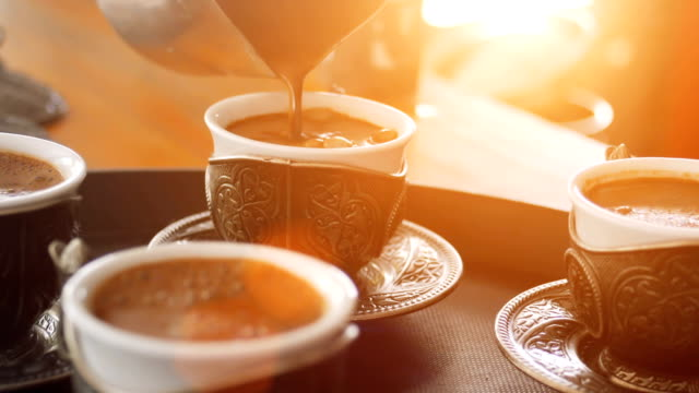 pouring turkish coffee at the cafe and shop - istanbul province stock videos & royalty-free footage