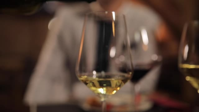 pouring white wine - bicchiere da vino video stock e b–roll