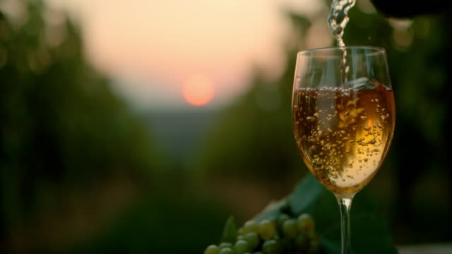 slo mo pouring wine into a glass at dusk - white wine stock videos & royalty-free footage