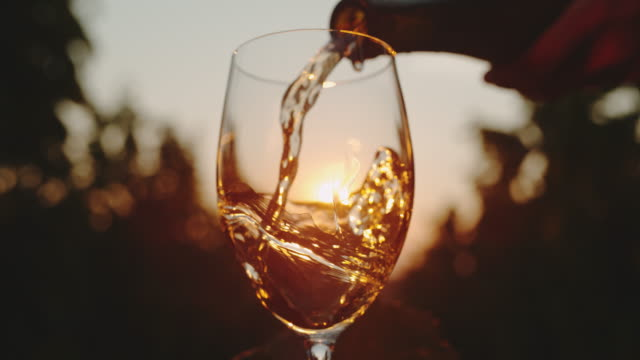 vídeos de stock e filmes b-roll de slo mo pouring wine into a glass at sunset - juicy