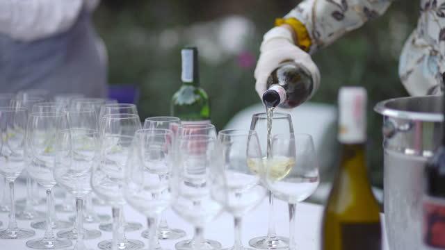vídeos de stock e filmes b-roll de pouring wine into a wine glass - copo vazio
