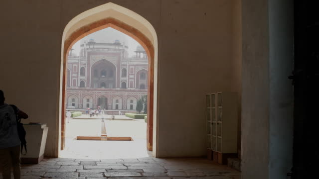 a pov from the entrance, walking towards the humayun's tomb, a world heritage monument in new delhi - new delhi stock videos & royalty-free footage