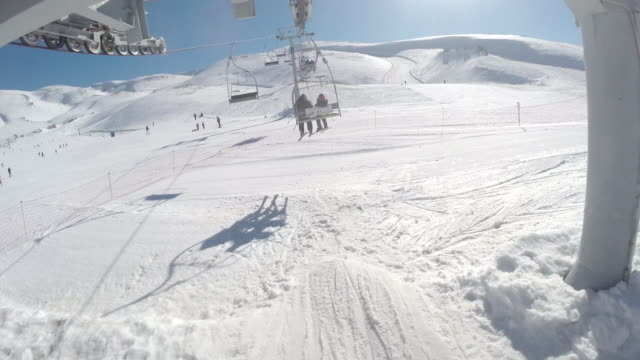 pov man on chairlift at mazaar ski resort