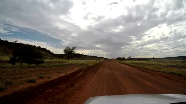 Pov of car driving in the Australian outback