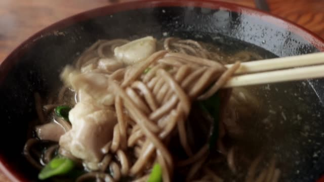 pov of japanese soba noodles - soba stock videos & royalty-free footage