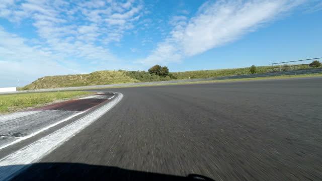 Pov shot of racing car on track