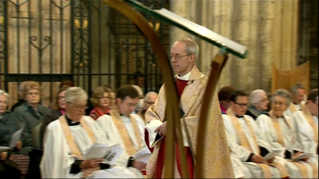 archbishop of canterbury calls for action; r20041401 / kent: canterbury: canterbury cathedral: **music heard sot** most reverend justin welby along... - canterbury cathedral stock videos & royalty-free footage