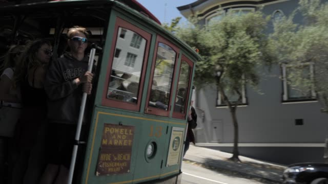 powell street cable car, san francisco, california, united states of america, north america - san francisco california video stock e b–roll