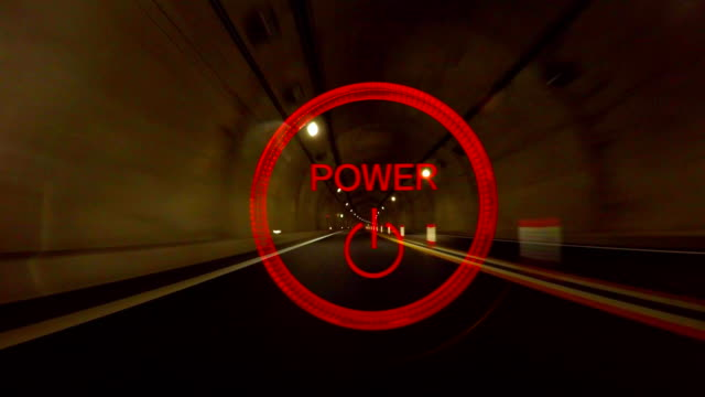 Power button and night highway