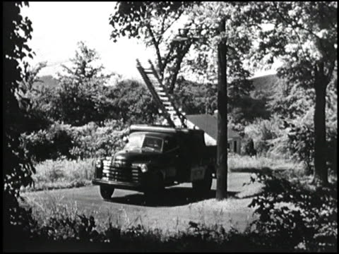 a power company in nyack new york uses 1950 chevrolet trucks for utility work in the field they're durable on rough roads and configured with lots of... - chevrolet truck stock videos & royalty-free footage