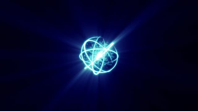 vídeos de stock e filmes b-roll de núcleo de energia hd - átomo