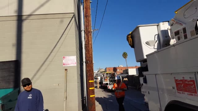 power line down in the alley west of santa monica blvd between broadway and santa monica blvd - santa monica blvd stock videos & royalty-free footage