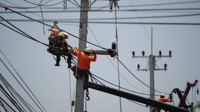 power line workers - power supply stock videos & royalty-free footage