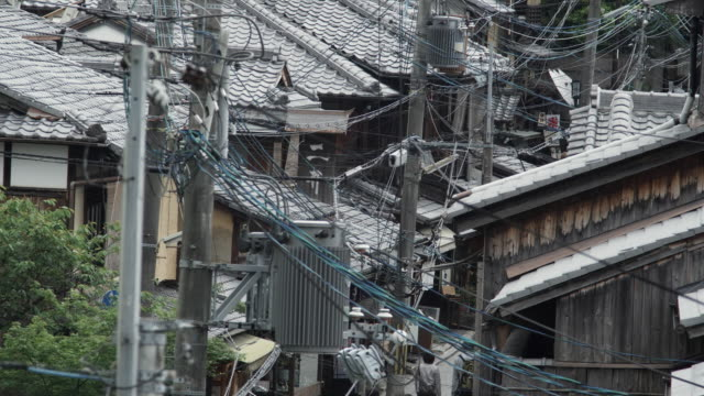 MS HA Power lines above traditional Japanese roofs, Kyoto, Japan