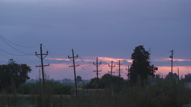 power lines at dawn - wiese stock videos & royalty-free footage