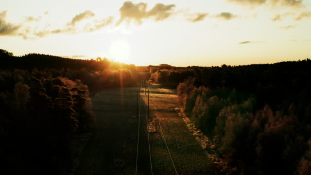power lines at sunrise - power line stock videos & royalty-free footage
