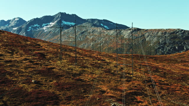 power lines in mountains - extreme terrain stock videos & royalty-free footage
