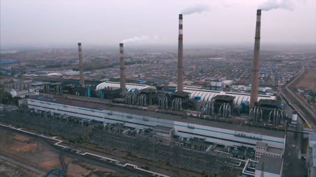 power plant aerial view - coal stock videos & royalty-free footage